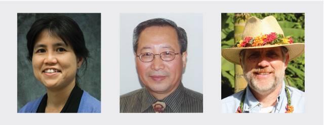 head shots of Koon-Hui Wang, Qing Li, JB Friday