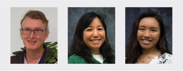 head shots of Brian Bushe, Jenee Odani and Emily Teng