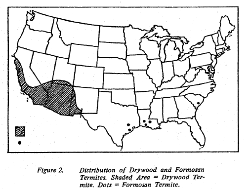 Fig 2. Distribution of Drywood and Formosan Termites.