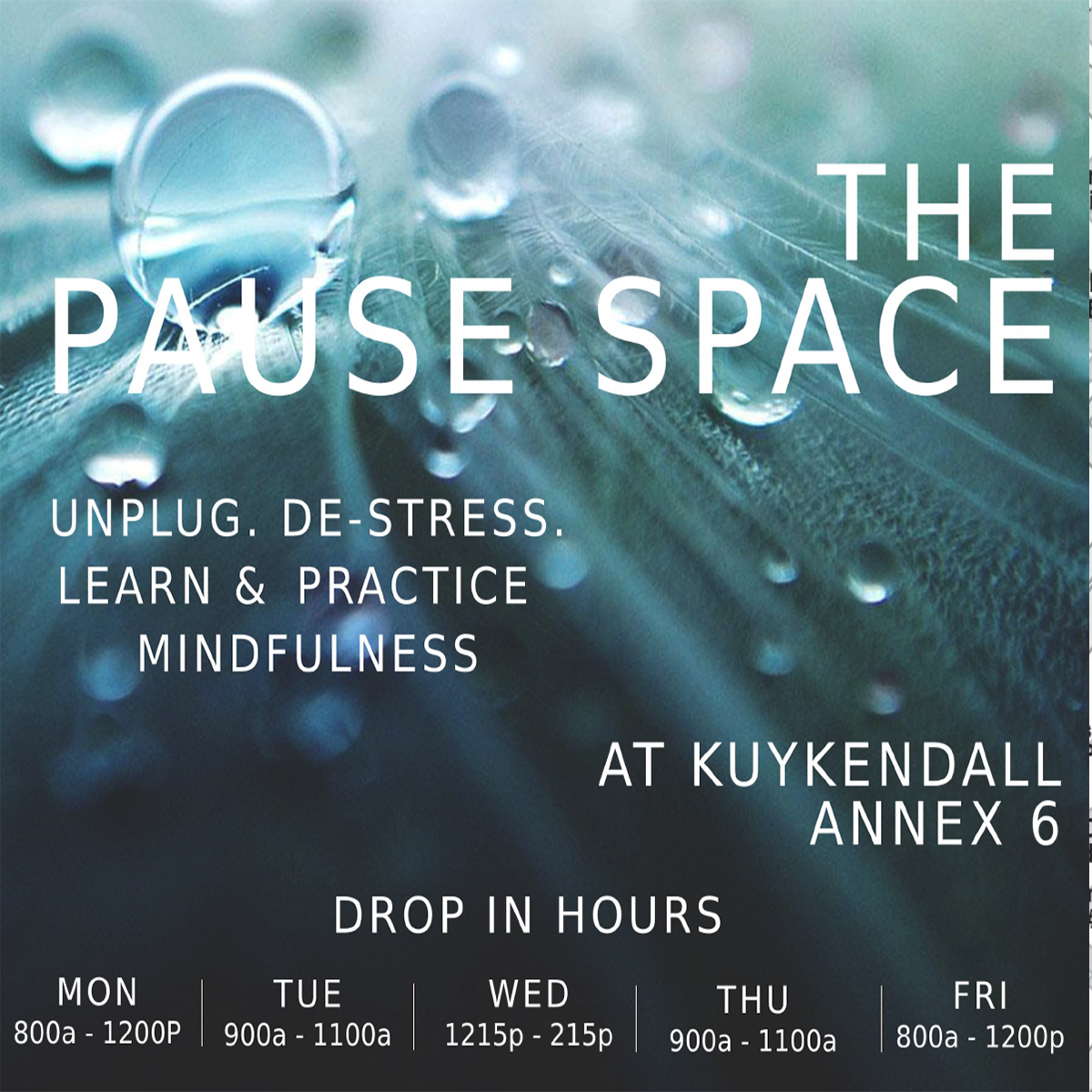 Unplug, De-stress. Learn and practice mindfulness at Kuykendall Annex 6. Hours, Monday 8-12 am, Tuesday 9-11 am, Wednesday 12:15-2:15PM, Thursday 9-11 am, Friday 8-12 am,