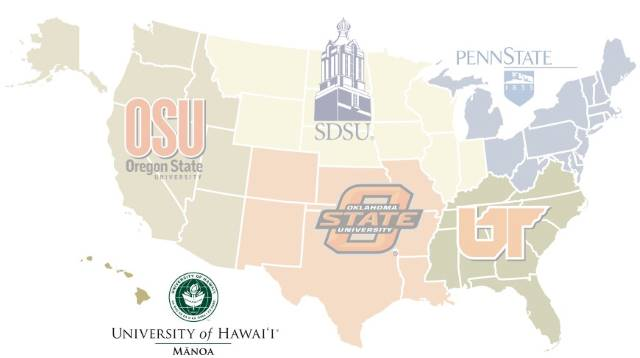 OSU: Oregon State University, SDSU, Penn State, Oklahoma State University, University of Tenesse, University of Hawaii at Manoa